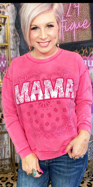 MAMA Paisley Vintage Pink Sweatshirt Top  - Also in Plus Size