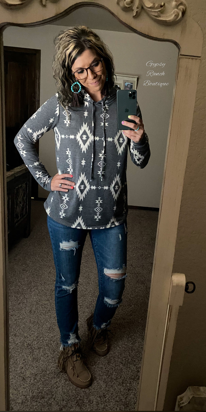 Calimesa Aztec Hooded Top - Also in Plus Size