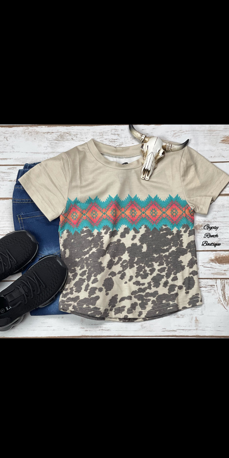 Dublin Cowhide Aztec Kids Top