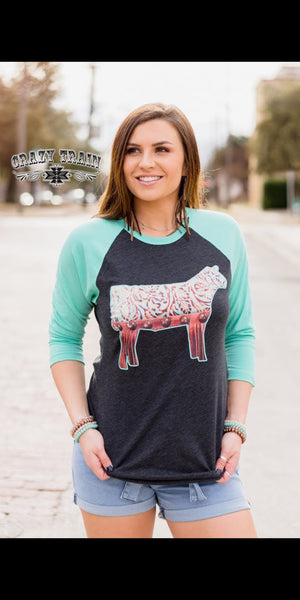 Steer Me Right Baseball Top - Also in Plus Size
