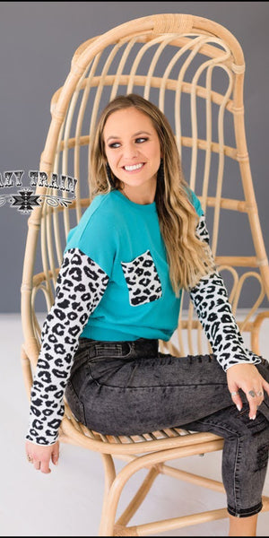 Silent Memories Leopard Turquoise Pullover - Also in Plus Size