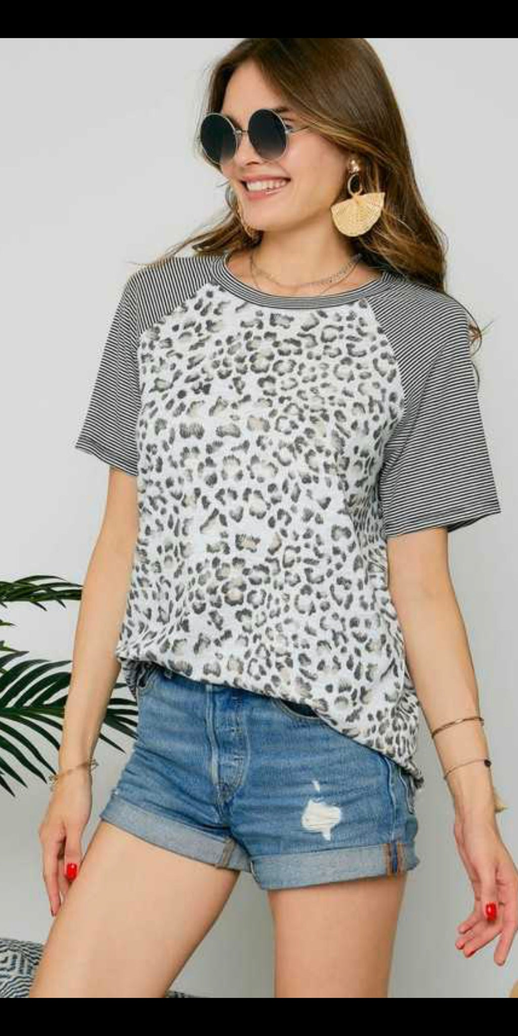 Reydon Leopard Stripe Top - Also in Plus Size