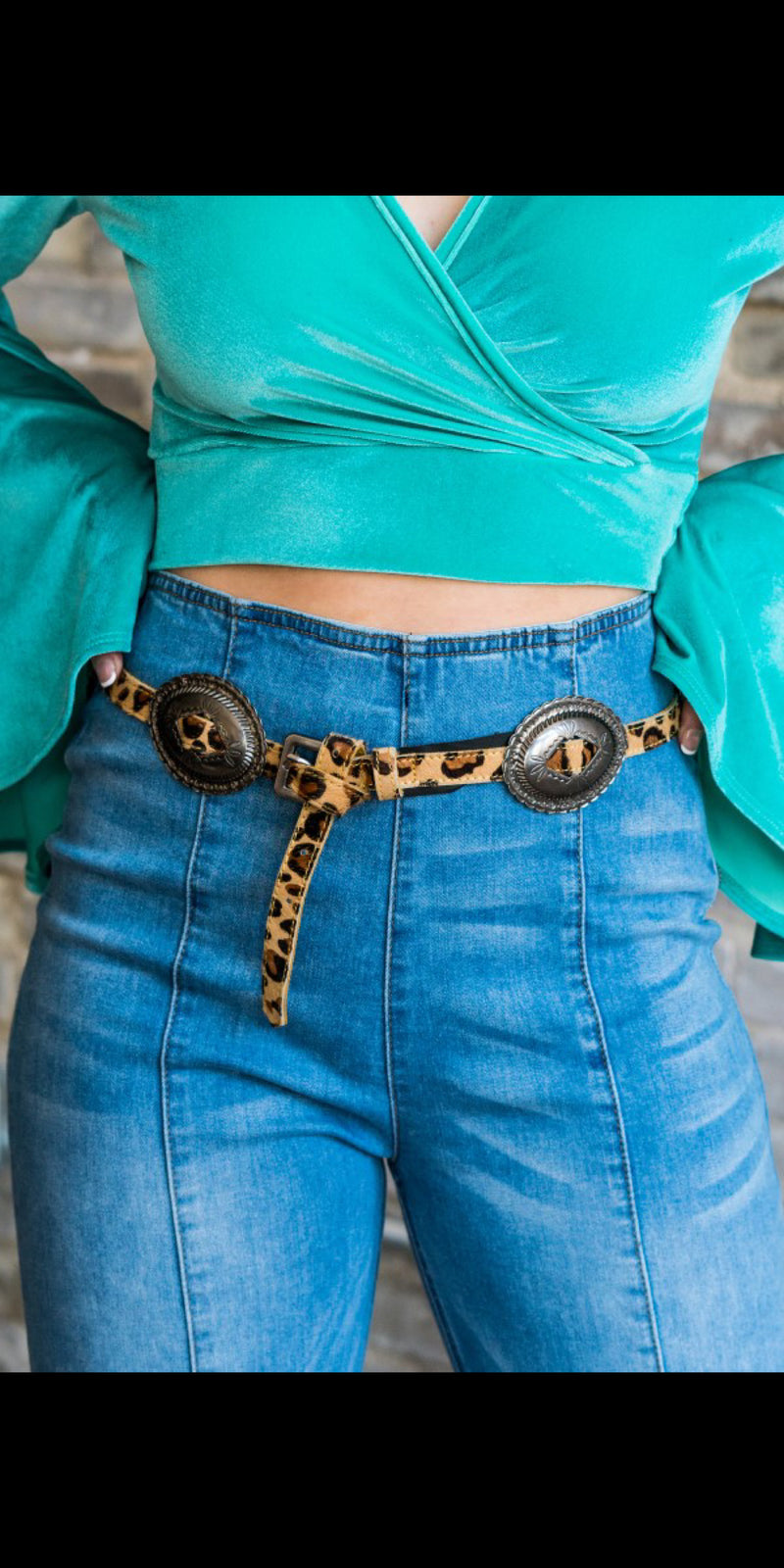 Ponderosa Leopard Concho Belt - Also in Plus Size