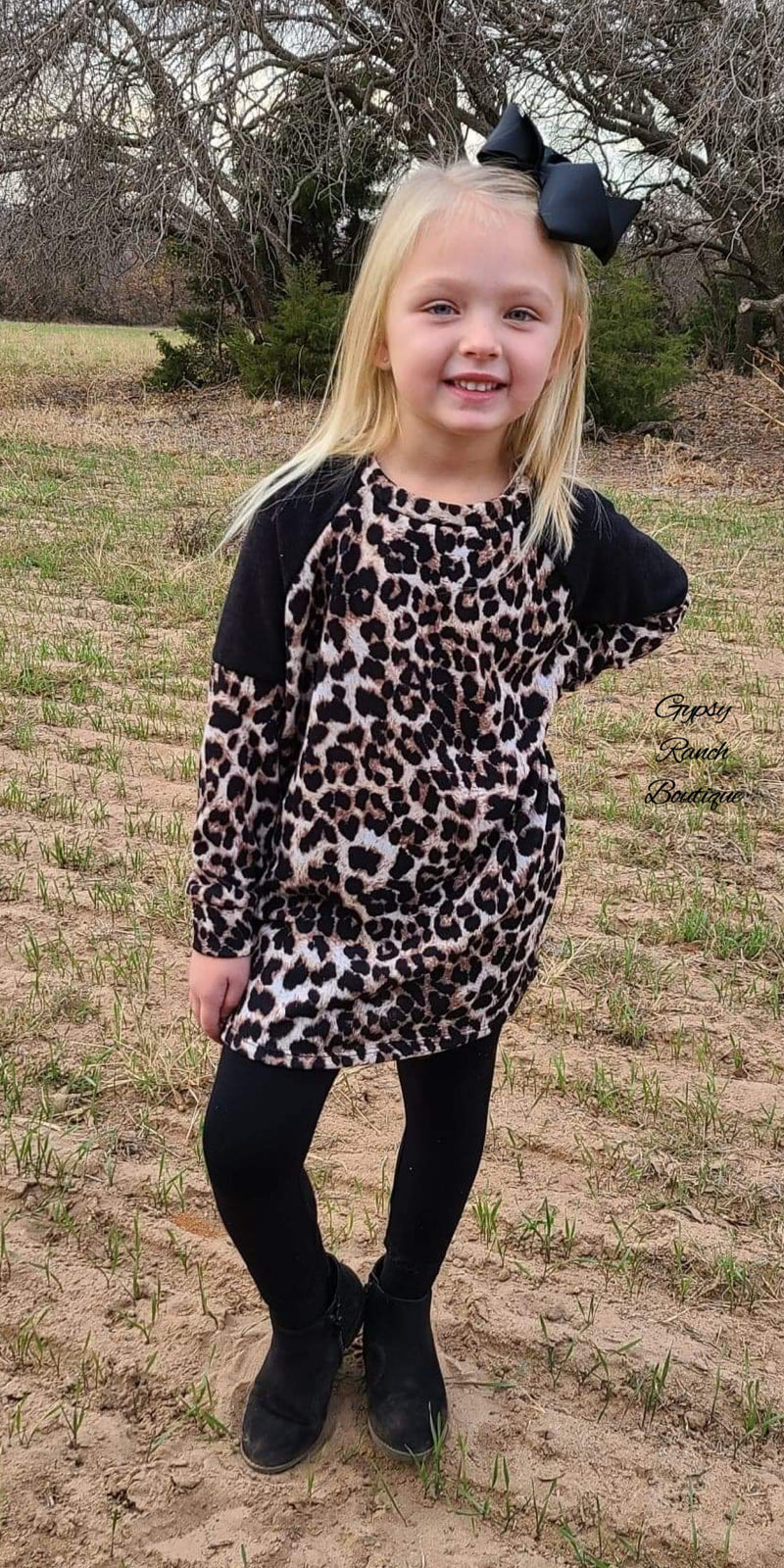 Harlee Black Leopard Top in Kids