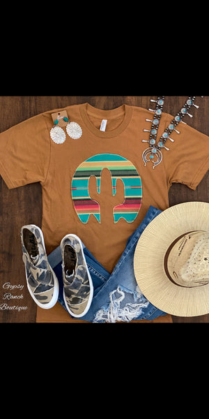 Raven Embroidered Serape Cactus Top  - Also in Plus Size