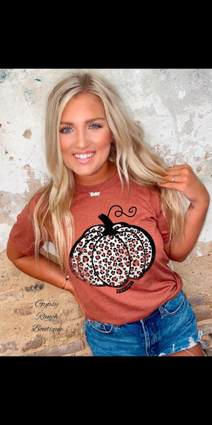 Thankful Leopard Pumpkin on Autumn Top - Also in Plus Size