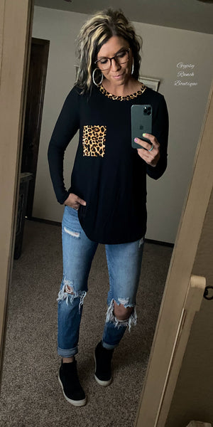 Jacksonville Leopard Black Top - Also in Plus Size