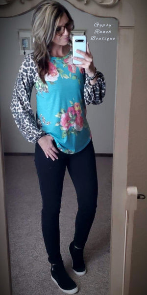 Bristol Kate Leopard Floral Bubble Sleeve Top - Also in Plus Size