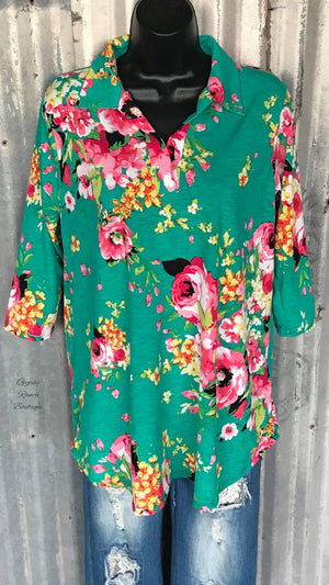 St Lucia Floral Top - Also in Plus Size