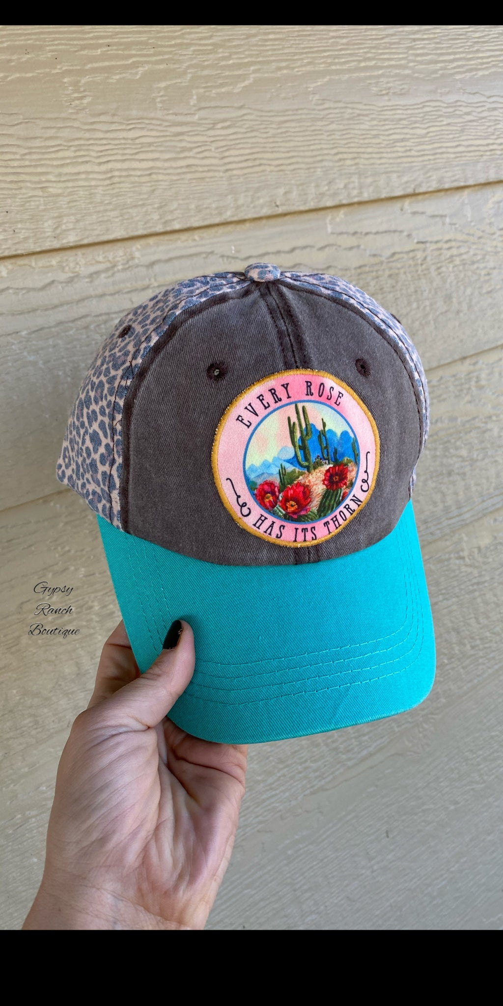 Leopard & Turquoise Every Rose Has It's Thorns Distressed Cap
