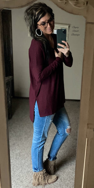 The Brazos Burgundy Dolman Top