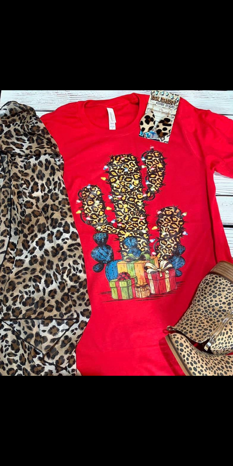 Christmas Leopard Cactus Top - Also in Plus Size
