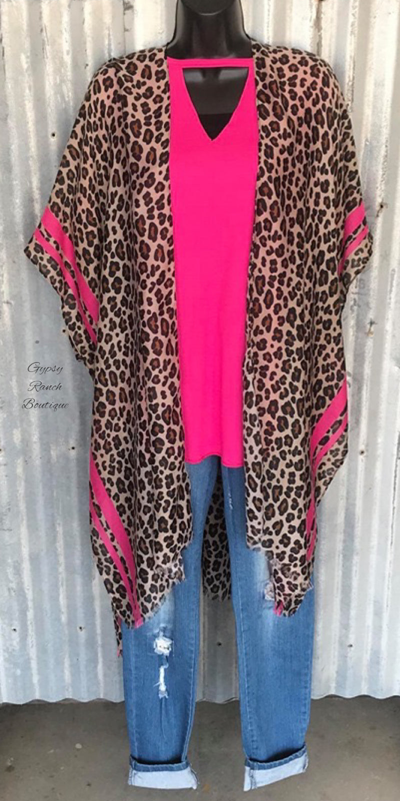 Kahula Pink & Leopard Cardigan Kimono - Also in Plus Size