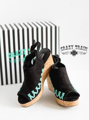 Whip Stitch Black Turquoise Wedge Sandals