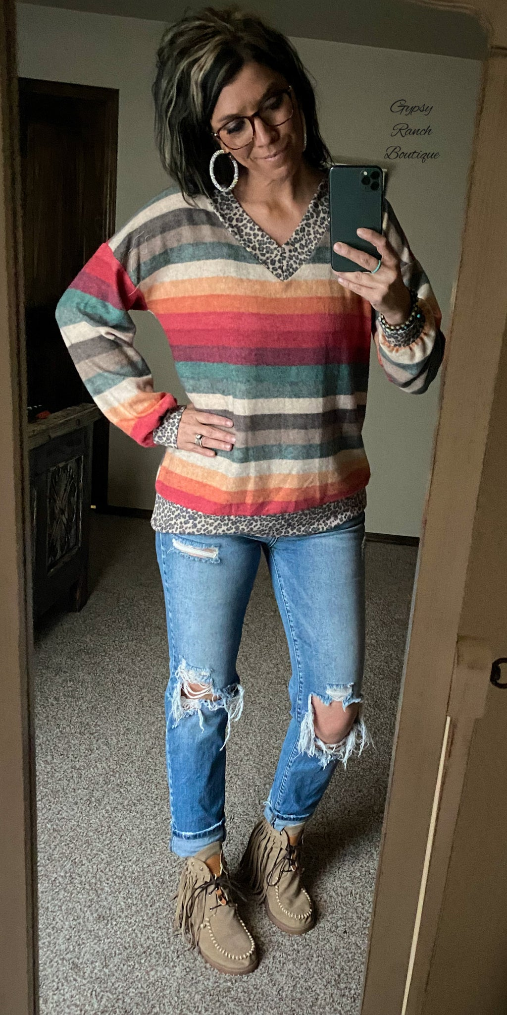 Tinsley Serape & Leopard Top - Also In Plus Size