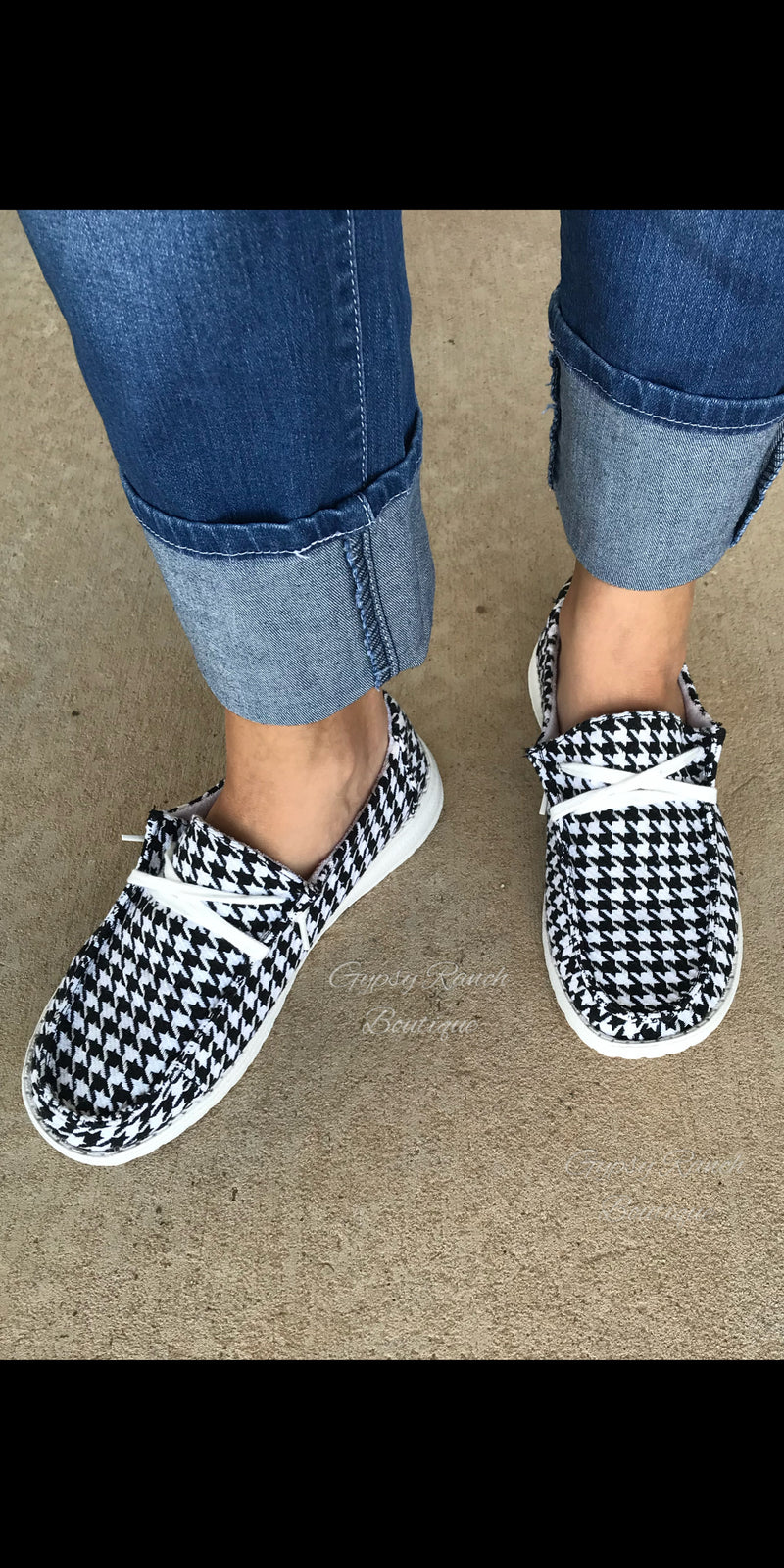 Gypsy Jazz Houndstooth Slip On Shoes