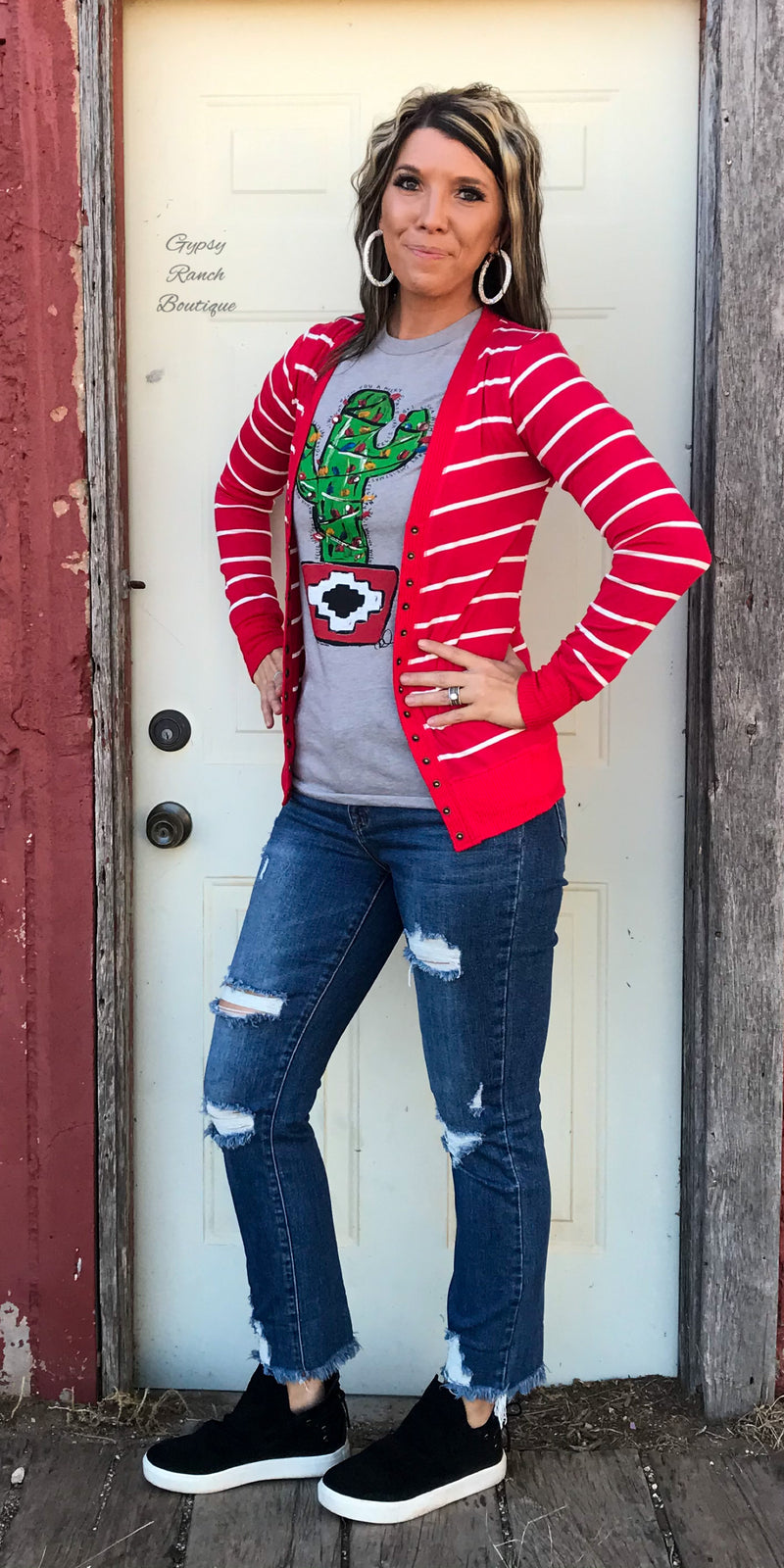 Sydnee Rae Red Stripe Snap Cardigan - Also in Plus Size