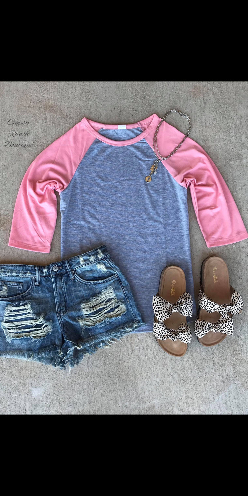 Collin Pink & Grey Raglan Top-Also in Plus Size