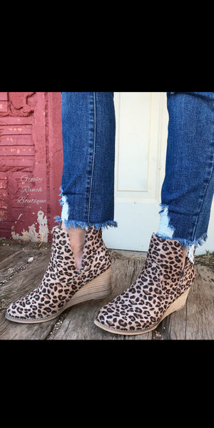 Asher Leopard Wedge Booties