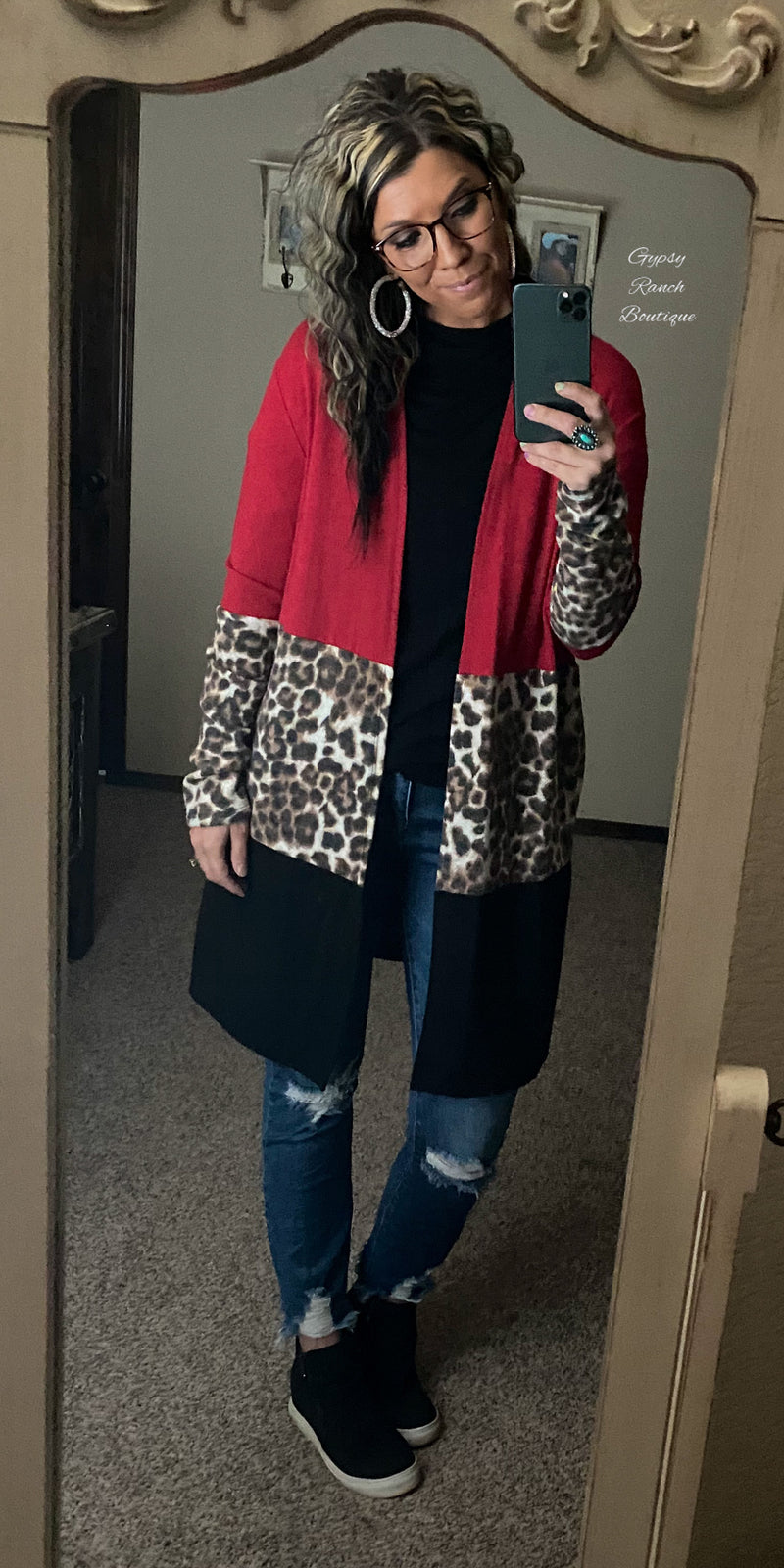 Brinkley Leopard Red Cardigan - Also in Plus Size