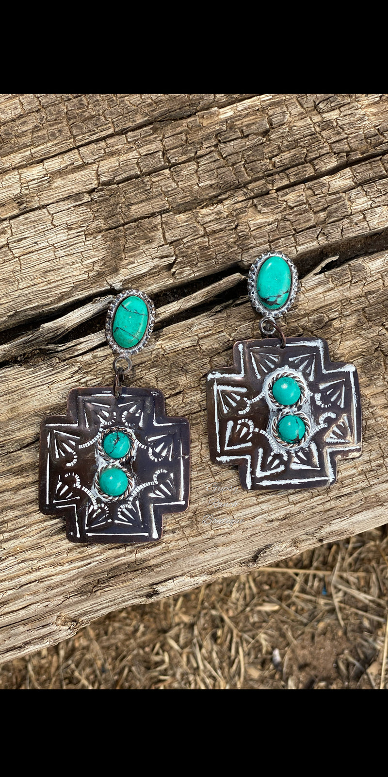 Sayre Patina Turquoise Cross Earrings