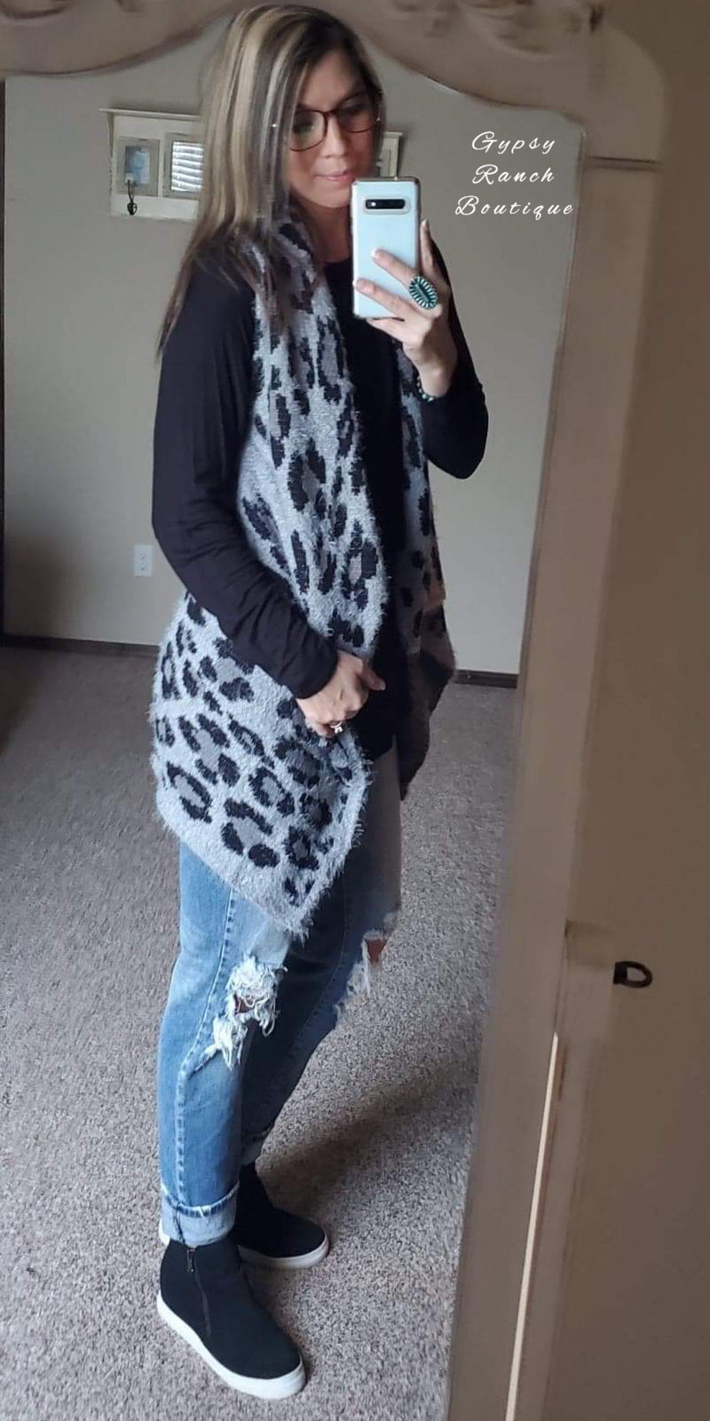 Savanna Grey Leopard Vest - Also in Plus Size
