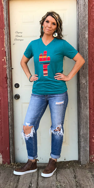 Agave Embroidered Serape Cactus Top  - Also in Plus Size