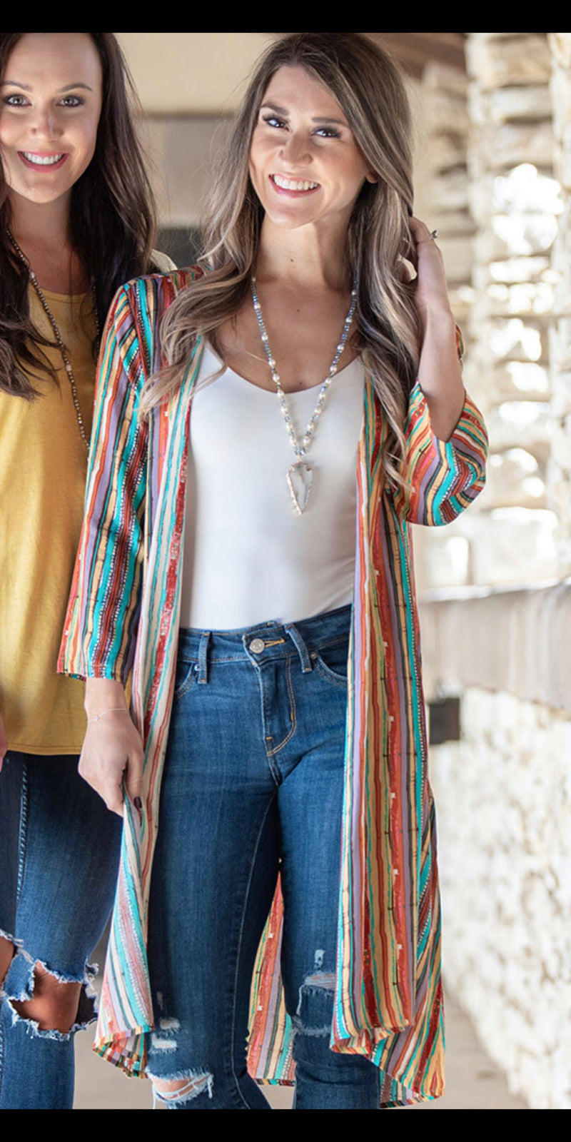 Stripe A Match Serape Print Kimono - Also in Plus Size