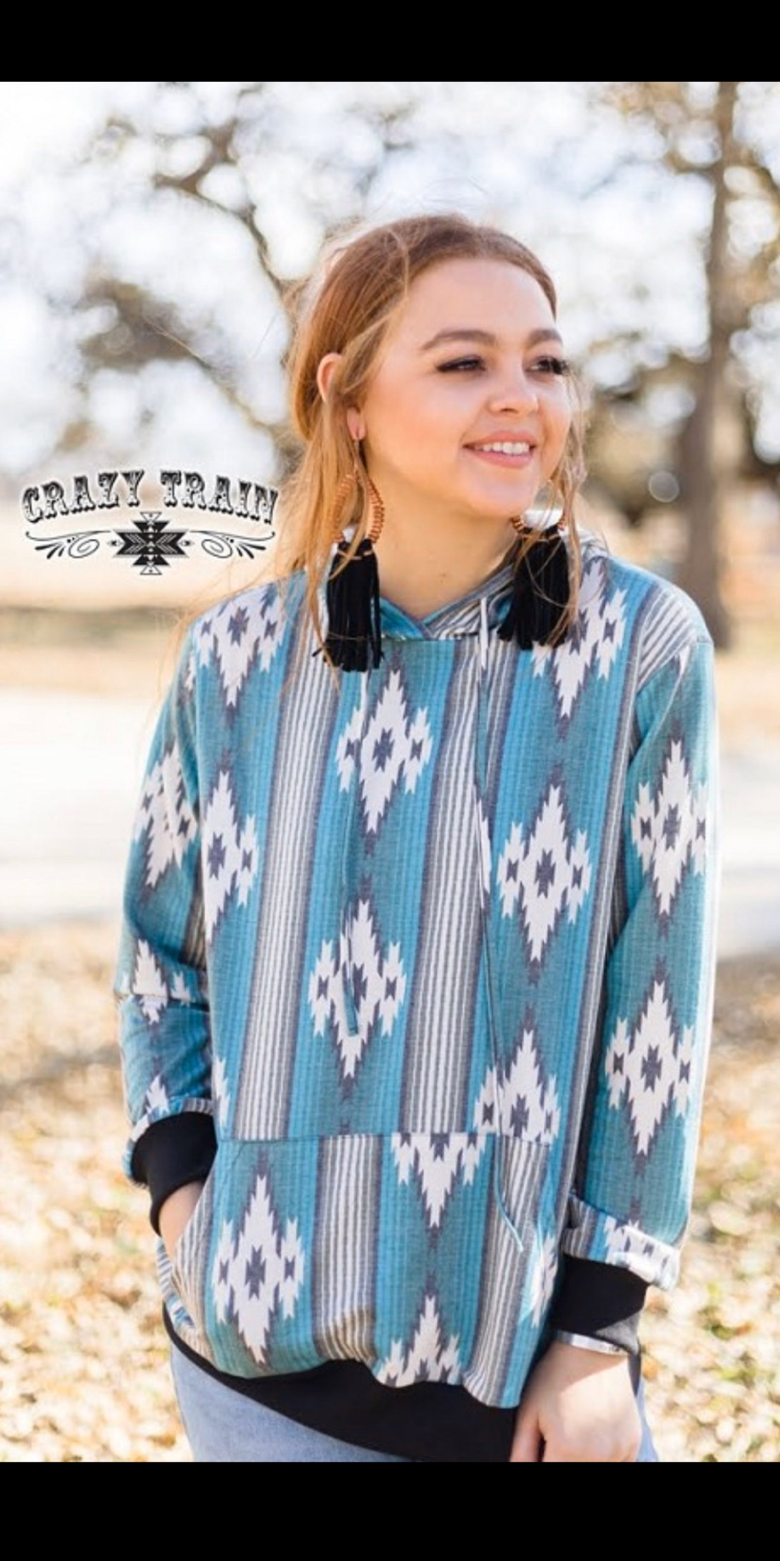 Gallup Girl Tribal Hooded Top - Also in Plus Size