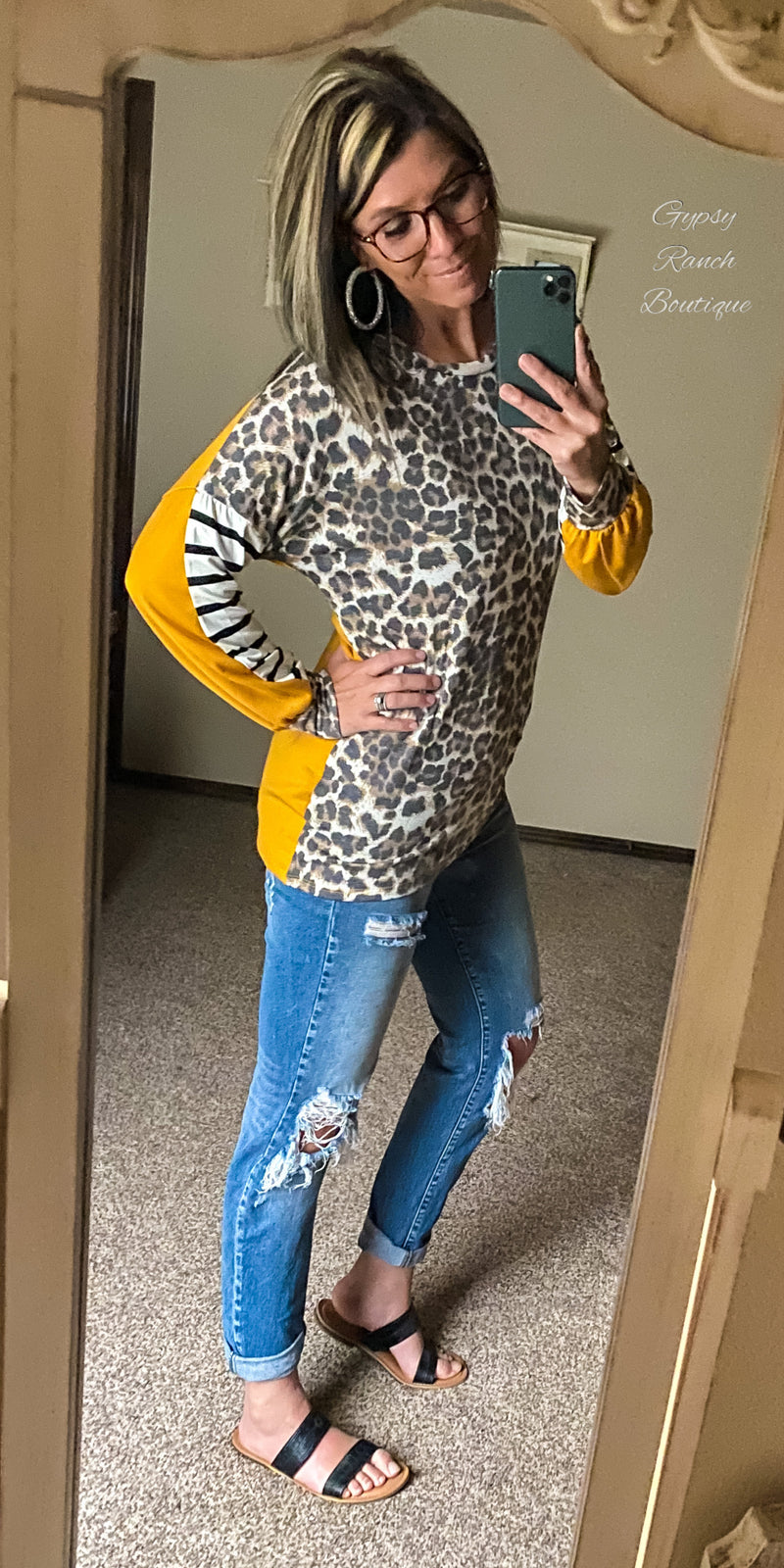 Libby Leopard Stripe Mustard Top - Also in Plus Size