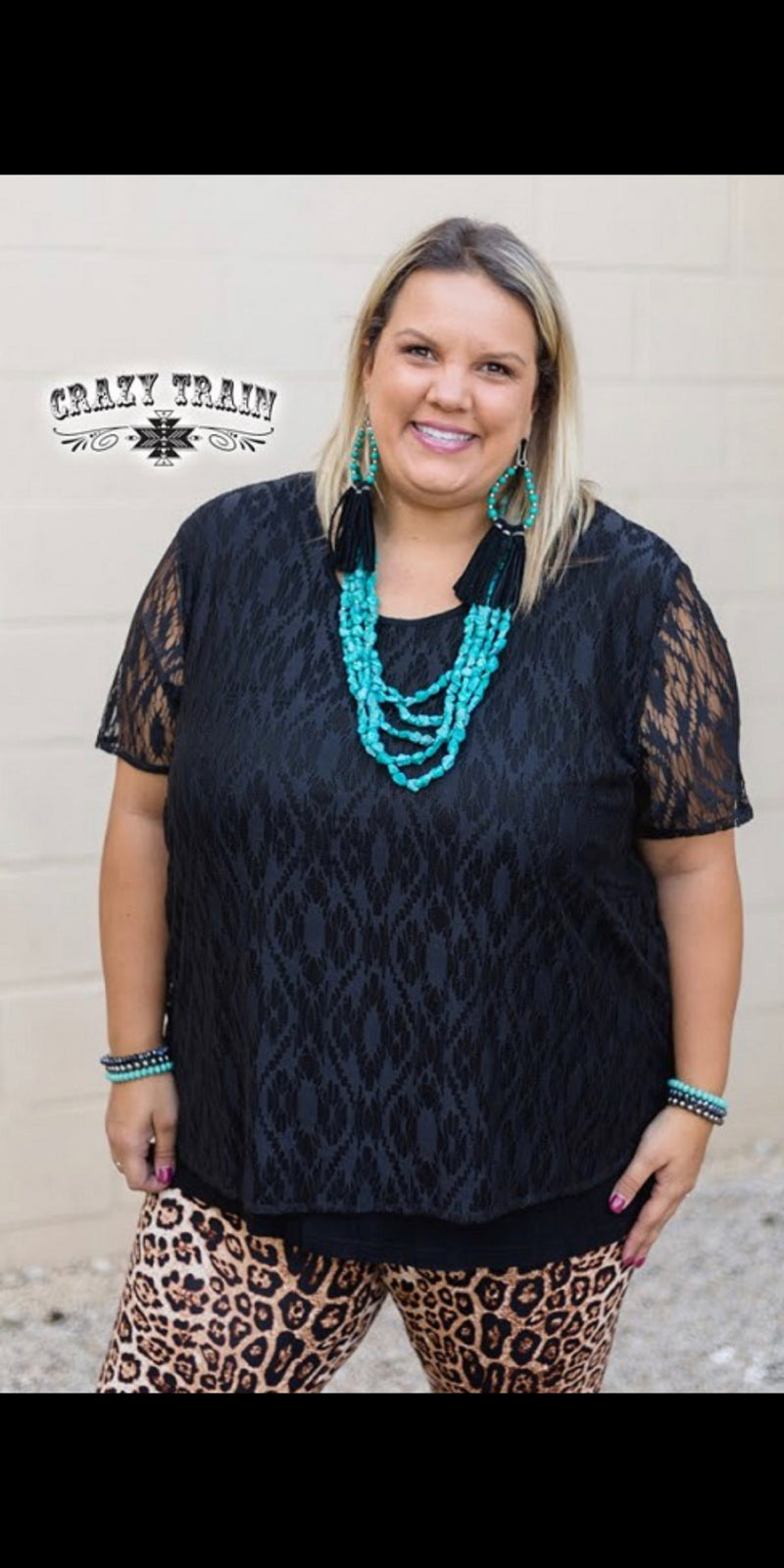 Hartli Black Aztec Lace Top - Also in Plus Size
