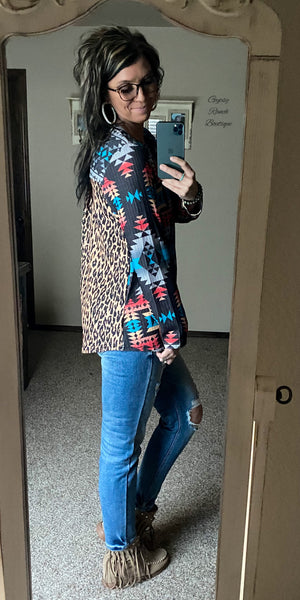 Corsicana Tribal & Leopard Top  - Also in Plus Size