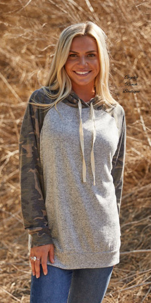 Raven Camo Hoodie Top-Also in Plus Size