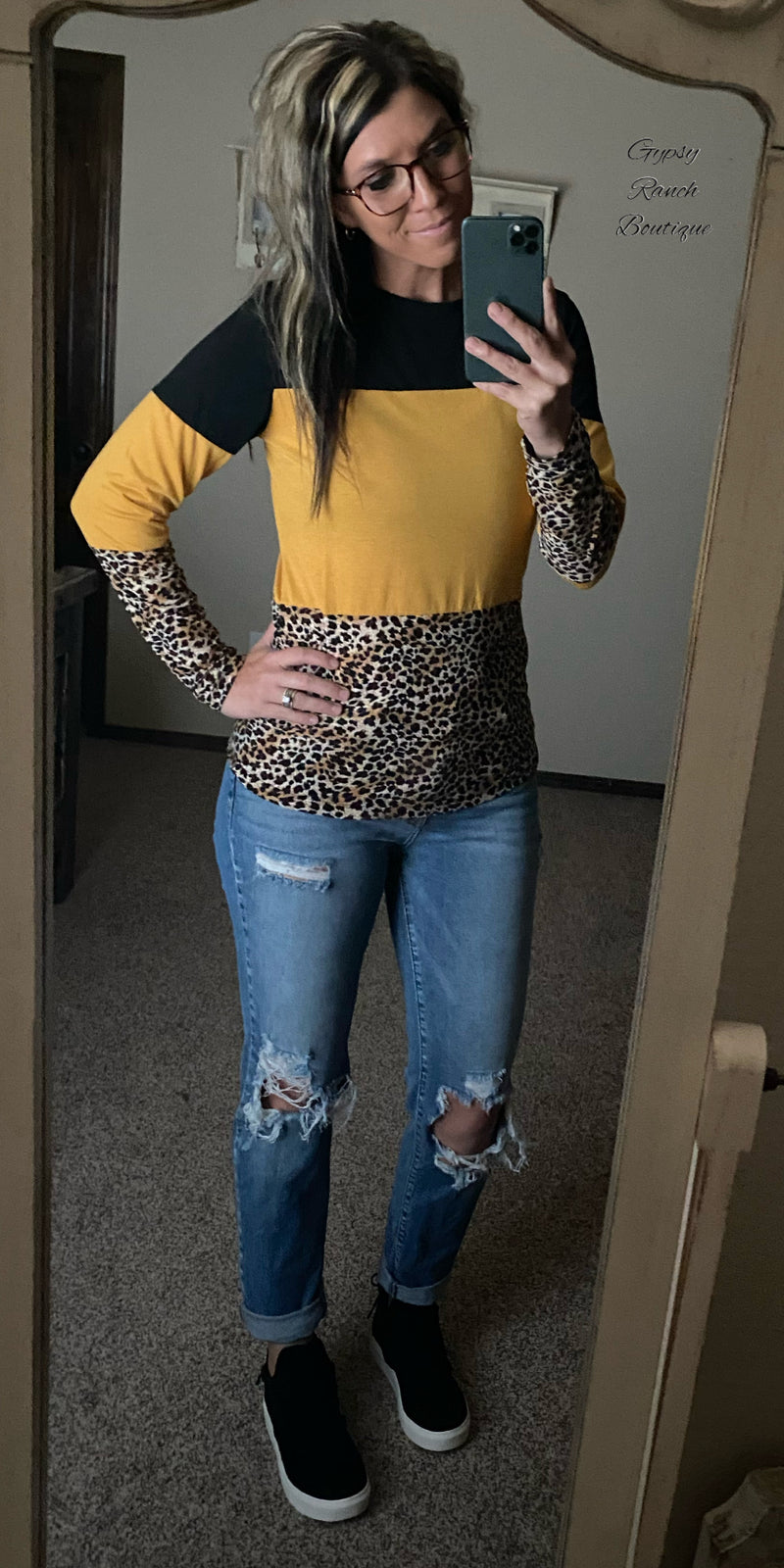 Kasidy Mustard Leopard Top - Also in Plus Size