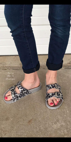 Leopard Silver Bling Kids Sandals