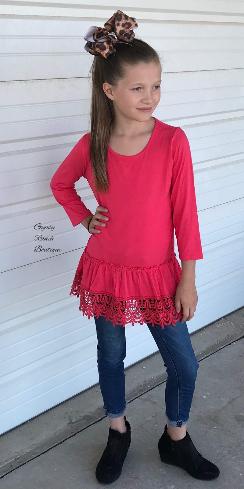 Hannah Pink Lace Trim Kids Top
