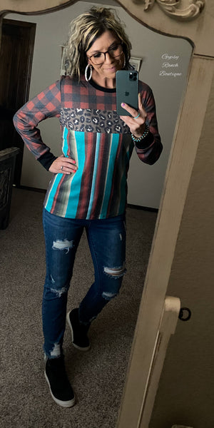 Fresno Serape Leopard Top - Also in Plus Size