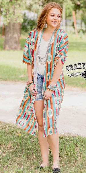 El Dorado Tribal Serape Kimono - Also in Plus Size
