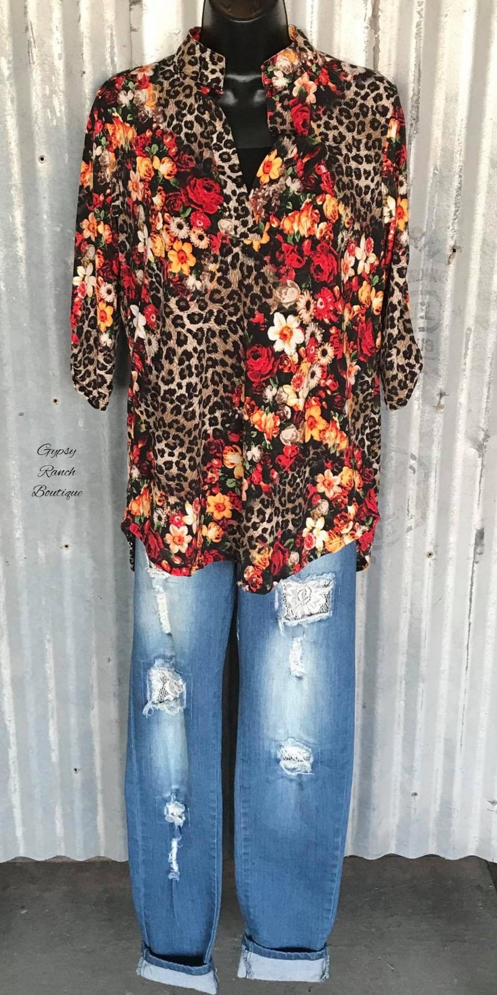 Moran Leopard Floral Top - Also in Plus Size