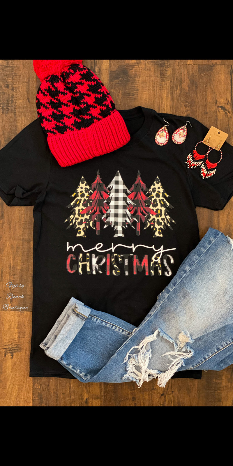 Buffalo Plaid & Leopard Merry Christmas Top - Also in Plus Size