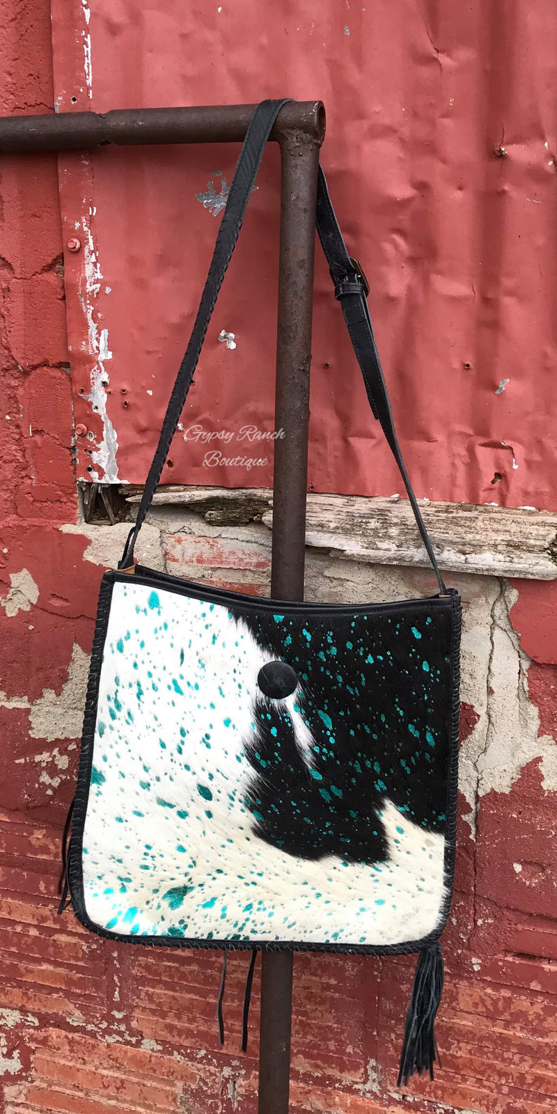 Ranch Swag Cowhide Turquoise Concealed Carry Purse