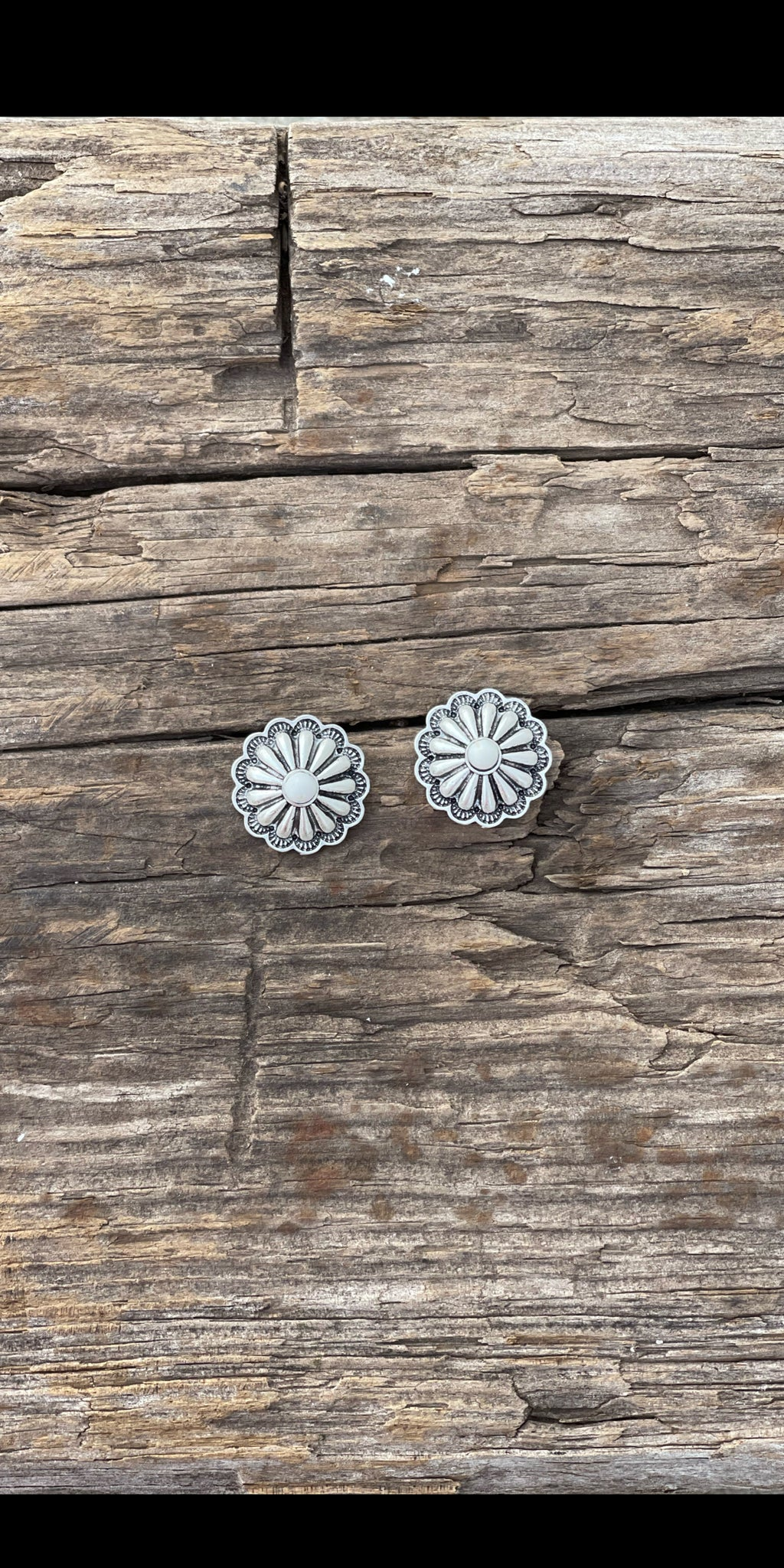 Home Sweet Home Silver Concho Post Back Earrings