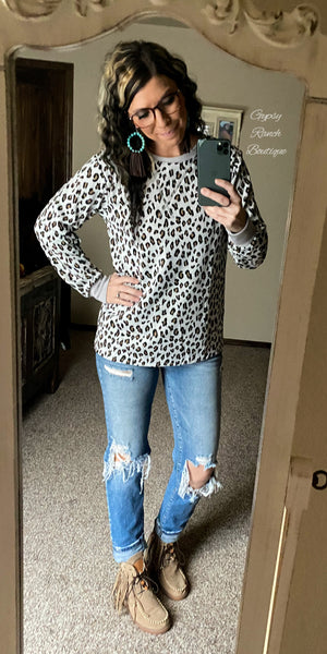 Tylee Grey Leopard Lightweight Sweatshirt Top - Also in Plus Size