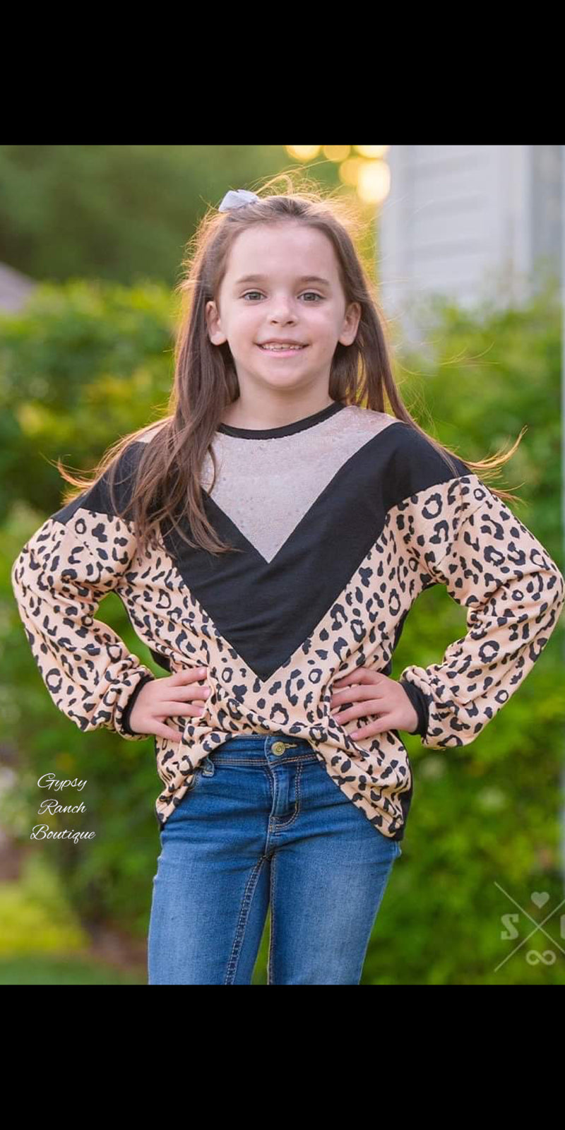 Girls Chevy Leopard Sequin Top - Kids