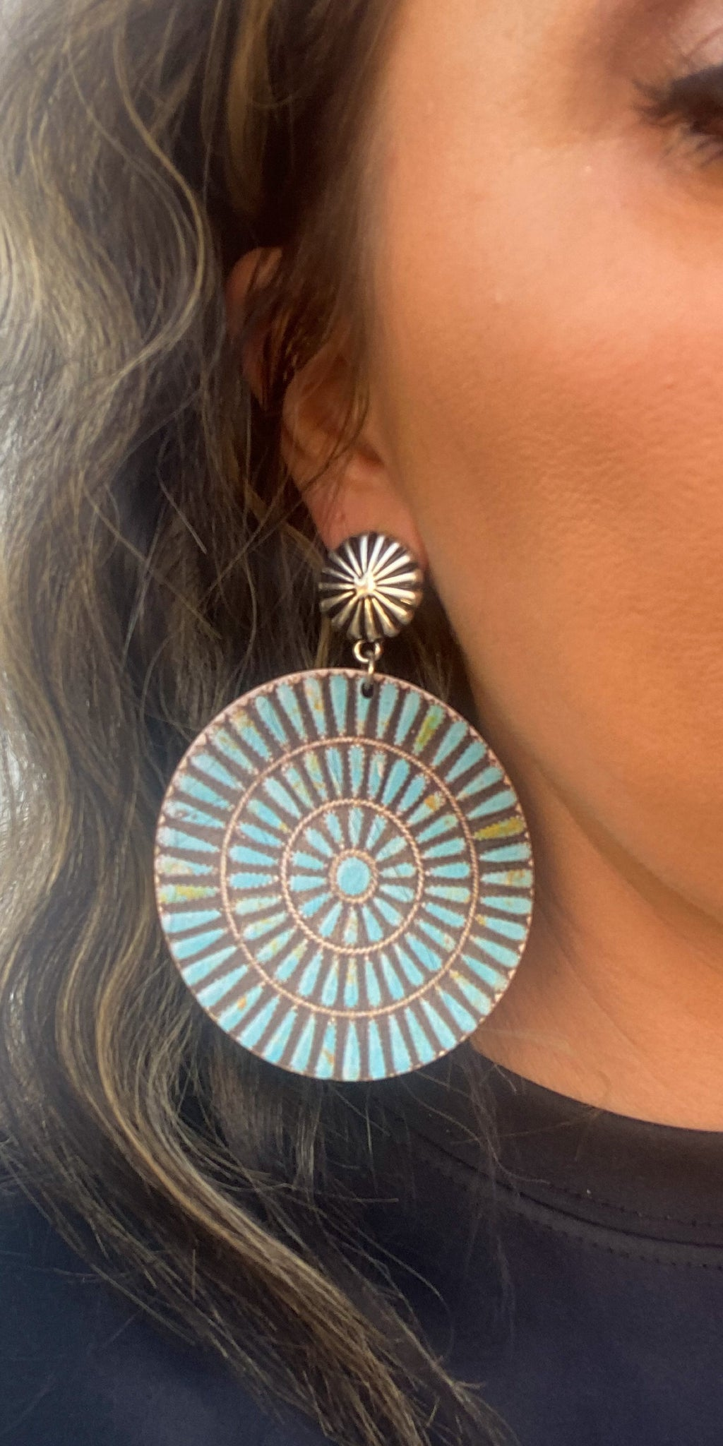 Austin City Limits Turquoise Wood Earrings