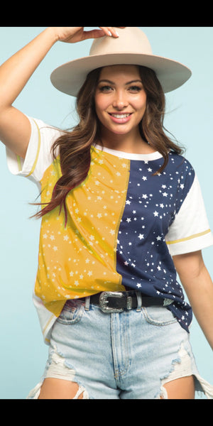 When Stars Collide Mustard & Navy Top - Also in Plus Size