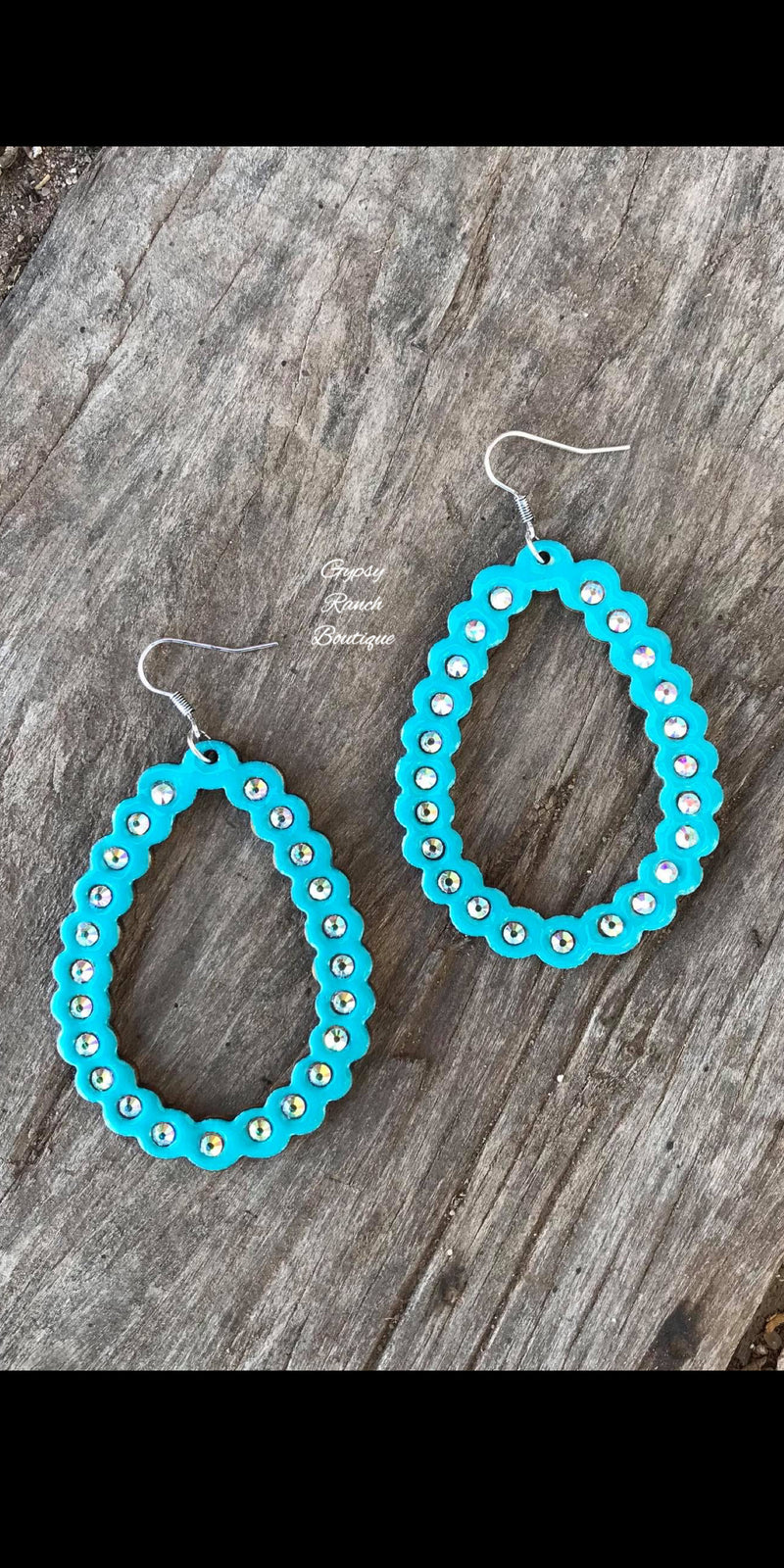 Down South Wood Turquoise Earrings