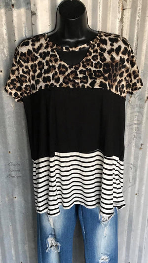 Dallas Leopard Stripe Top - Also in Plus Size