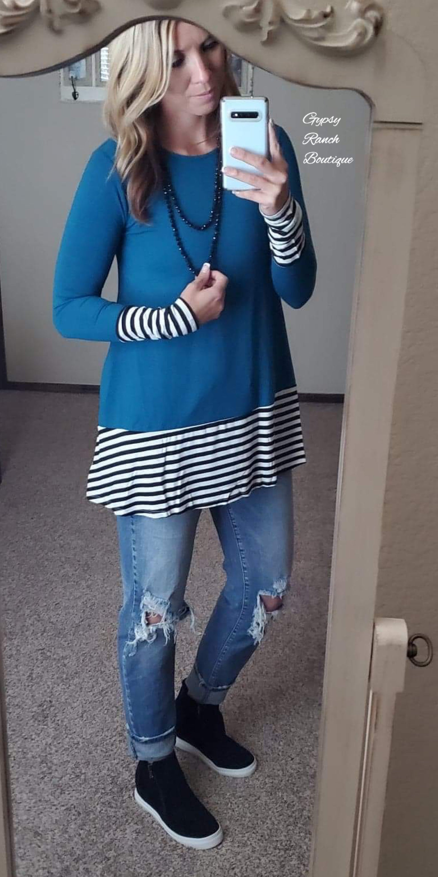 Timberlake Teal Stripe Top - Also in Plus Size