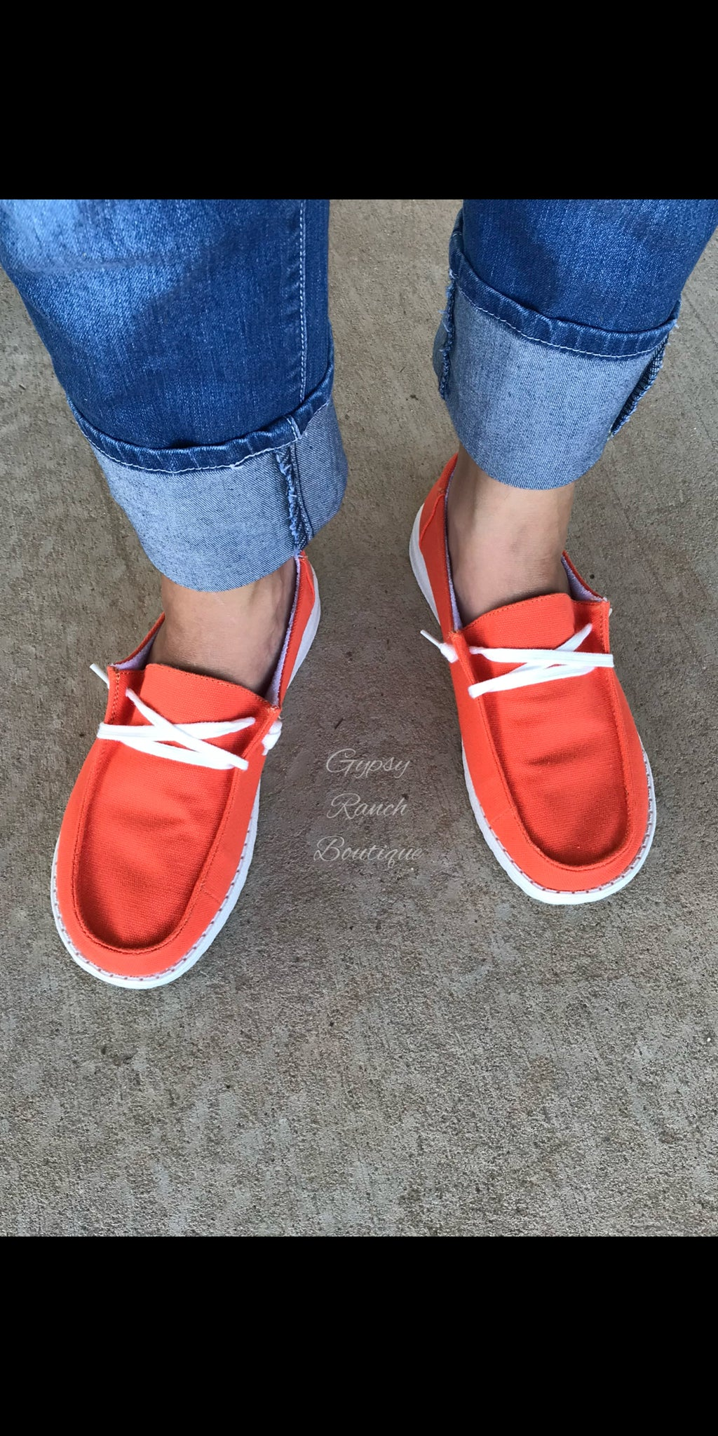 Gypsy Jazz ORANGE Slip On Shoes